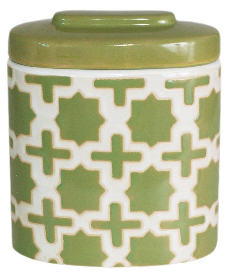 "10"" Trellis Covered Jar, Green"