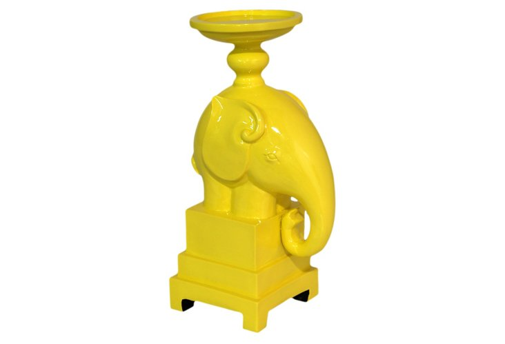 """12"""" Elephant Candle Stand, Yellow"""