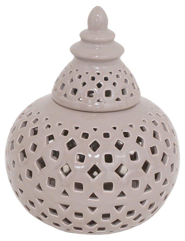 "9"" Pierced Ceramic Jar, Taupe"