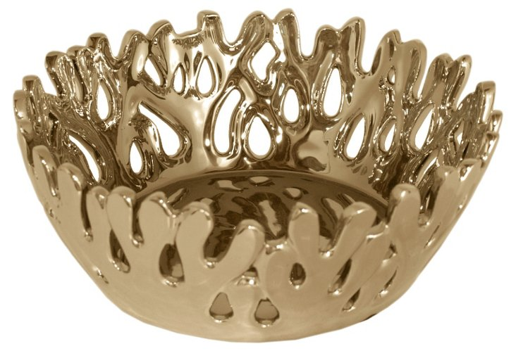 """12"""" Coral Bowl, Gold"""