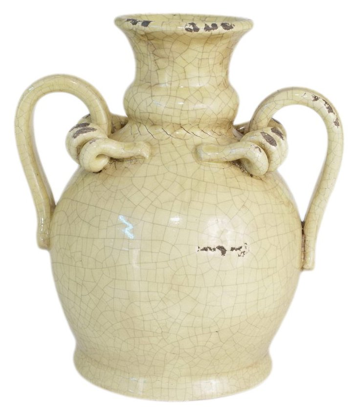 "14"" Glazed Terracotta Urn, Yellow"