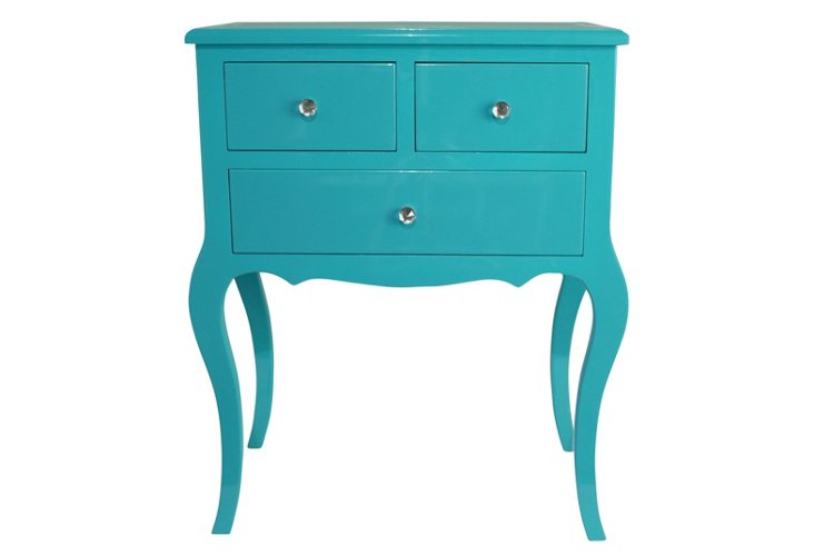 Hope 3-Drawer Side Table, Aqua
