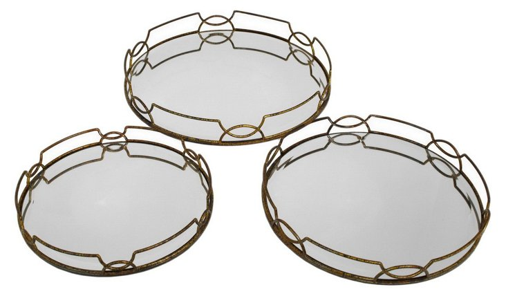 Asst. of 3 Deco Mirrored Trays, Gold