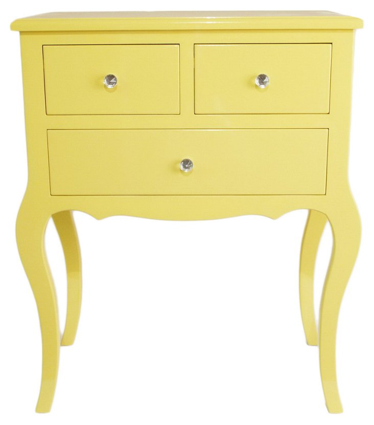 Hope 3-Drawer Side Table, Yellow