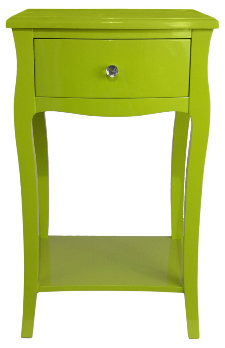 Wooden Side Table, Green