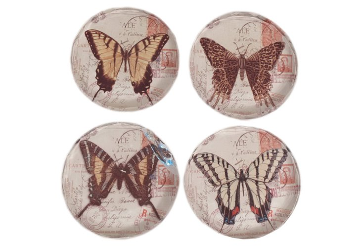 S/4 Glass Paperweights, Butterfly