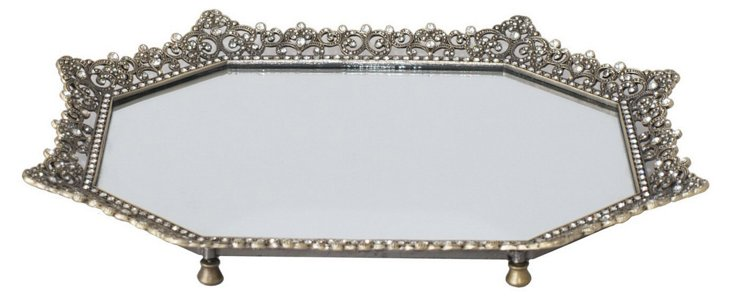 Embellished Mirror Tray, Octagonal