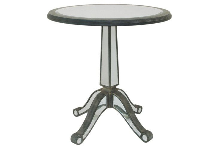 Leah Round Mirrored End Table
