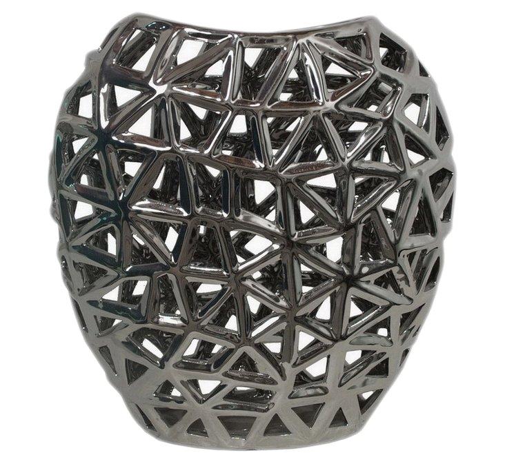 "13"" Pierced Ceramic Vase, Silver"