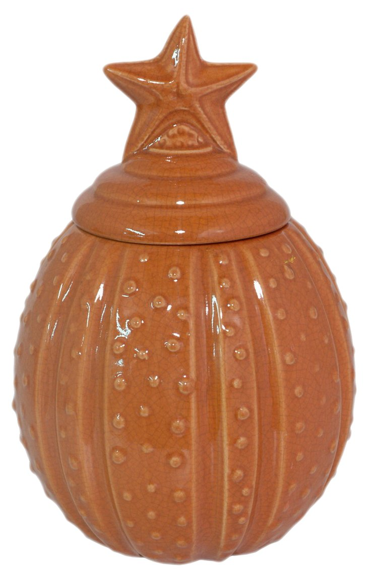 "11"" Covered Jar, Orange"