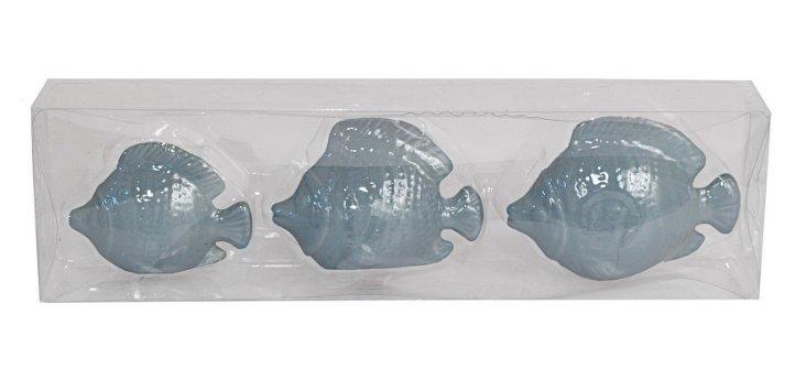 S/3 Ceramic Fish Figurines, Blue