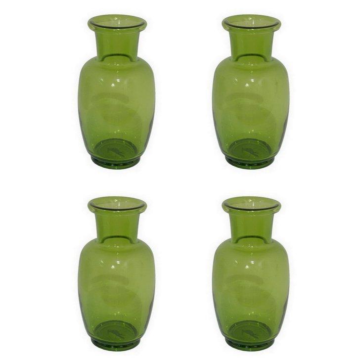 S/4 Glass Vases, Green