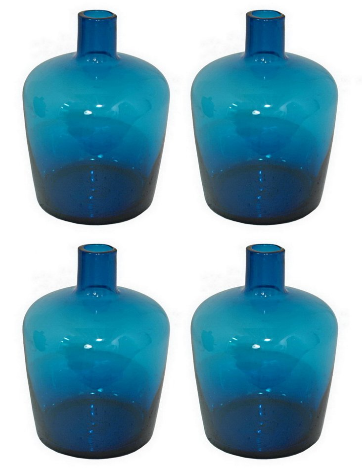 S/4 Glass Bottle Vases, Blue