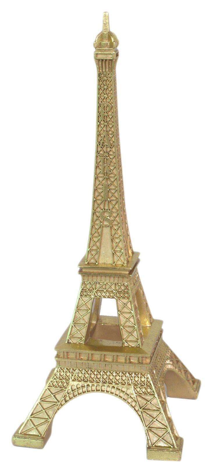"19"" Eiffel Tower Figurine, Gold"