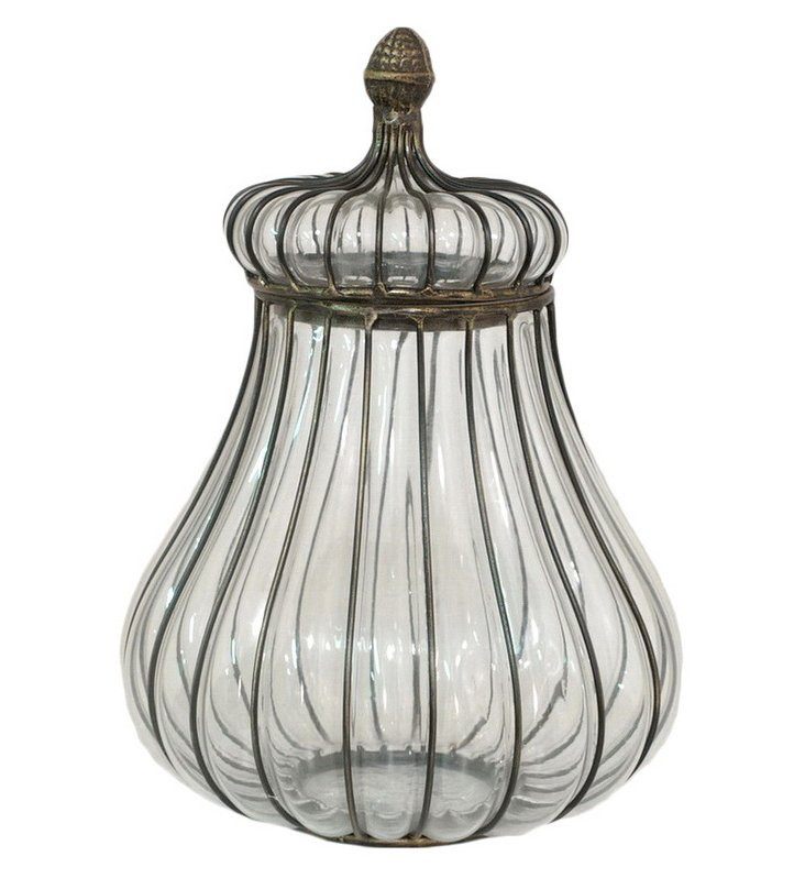 """12"""" Wire & Glass Covered Jar"""