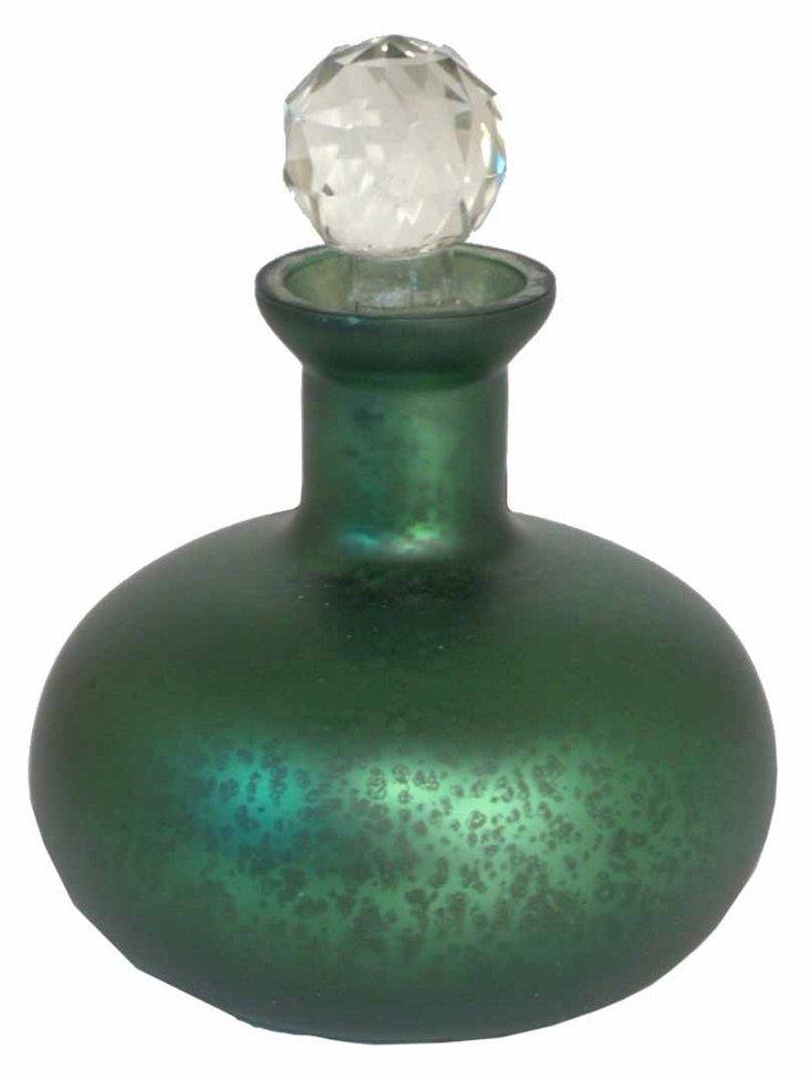 """6"""" Mercury Glass Bottle w/ Stop, Green"""