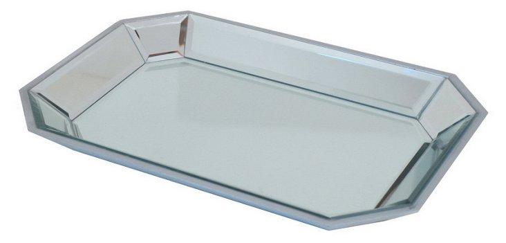 """17"""" Beveled Mirror Tray, Silver"""