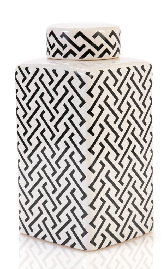 "12"" Maze Jar, Black & White"