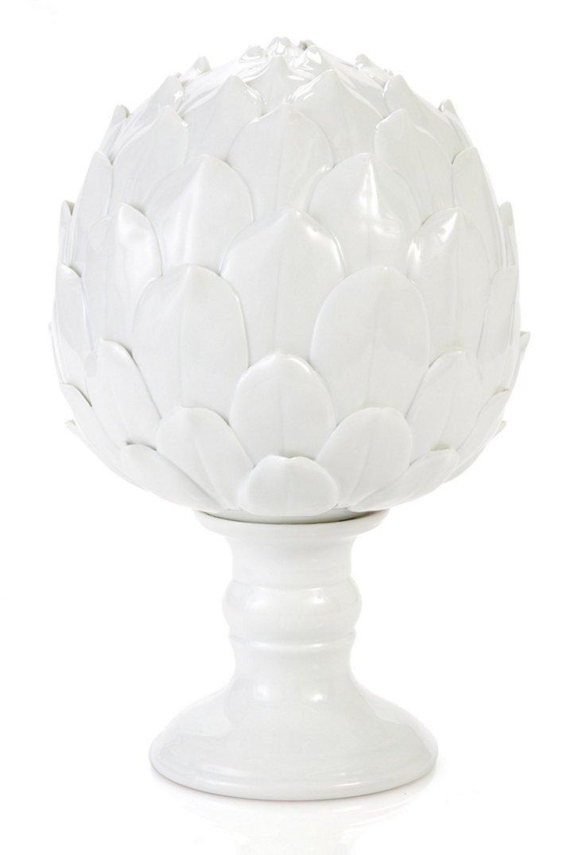 "8"" Ceramic Artichoke Finial, White"
