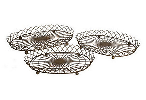 S/3 Footed Wire Trays, Brown