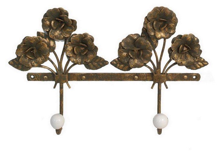 Double Metal Bouquet Wall Hooks, Brown