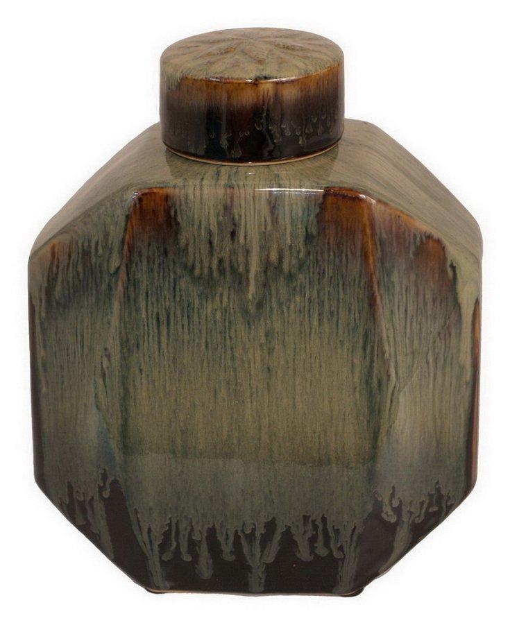 "10"" Covered Marbled Jar"