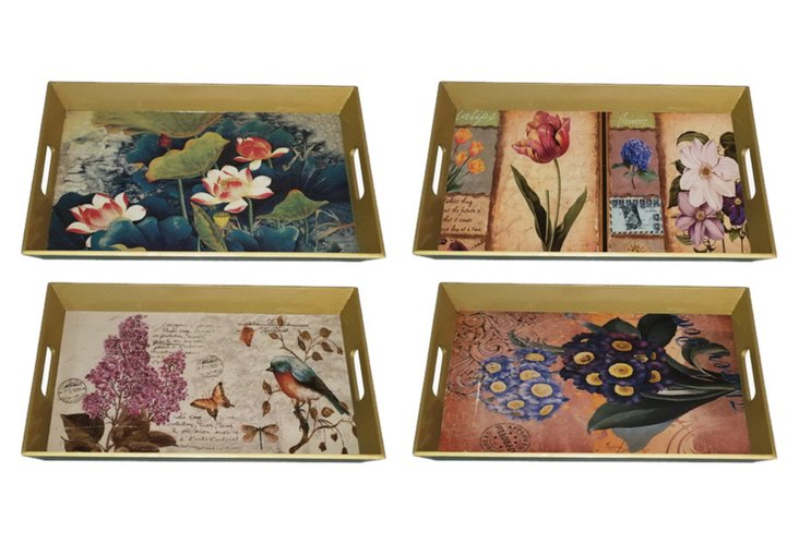 Small Botanical Wood Trays, Asst. of 4