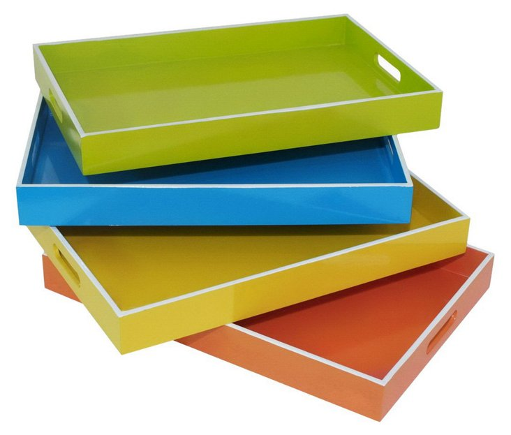Asst. of 4 Bright Wood Trays
