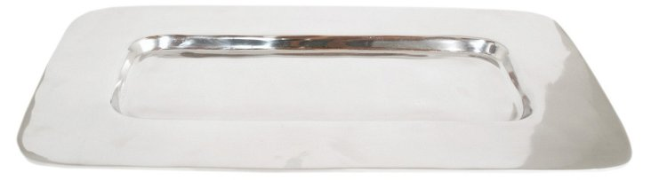 "21"" Shallow Rectangular Tray, Silver"