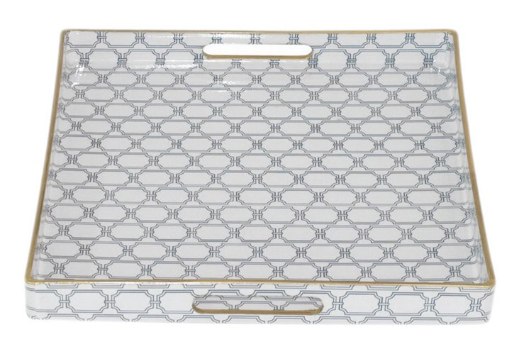 """14"""" Patterned Tray, White/Green"""