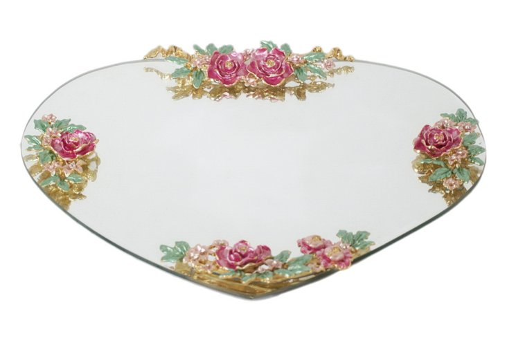 12x11 Glass Tray w/ Flowers