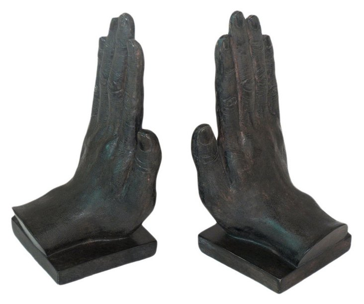 Pair of Praying Hands Bookends, Black