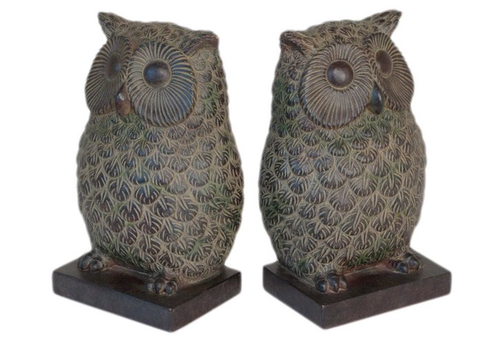 Pair of Resin Owl Bookends