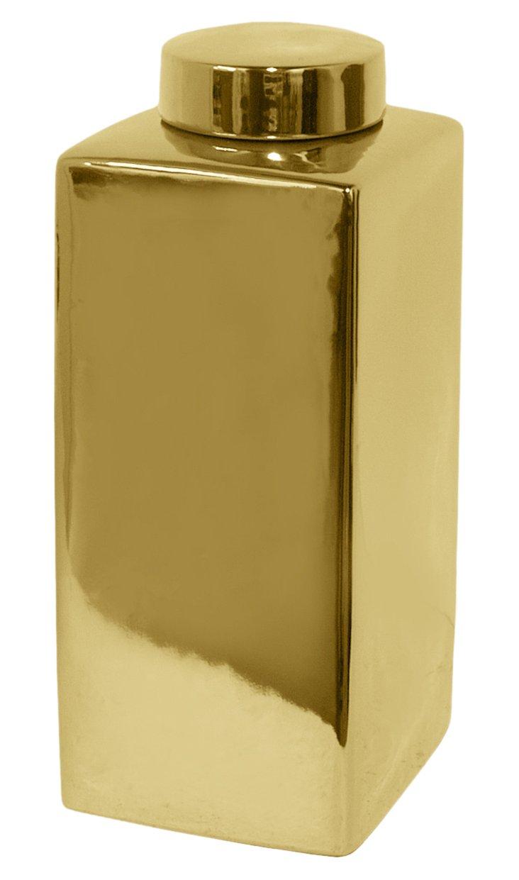 """15"""" Ceramic Jar, Gold"""