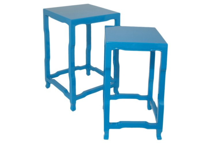 Blue Julie End Tables, Set of 2