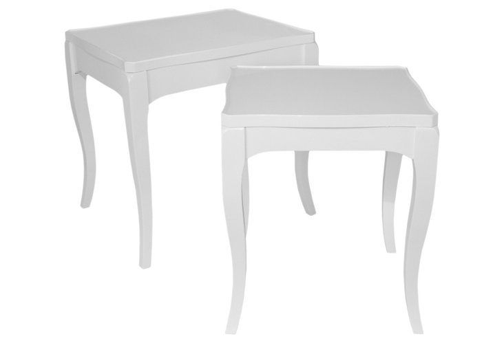 White Lillian End Tables, Set of 2