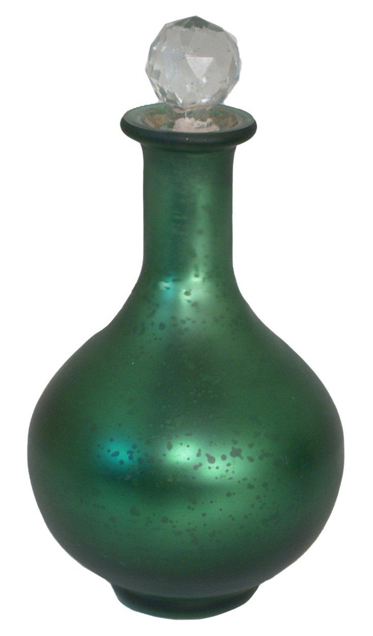 """10"""" Mercury Glass Bottle w/ Stop, Green"""