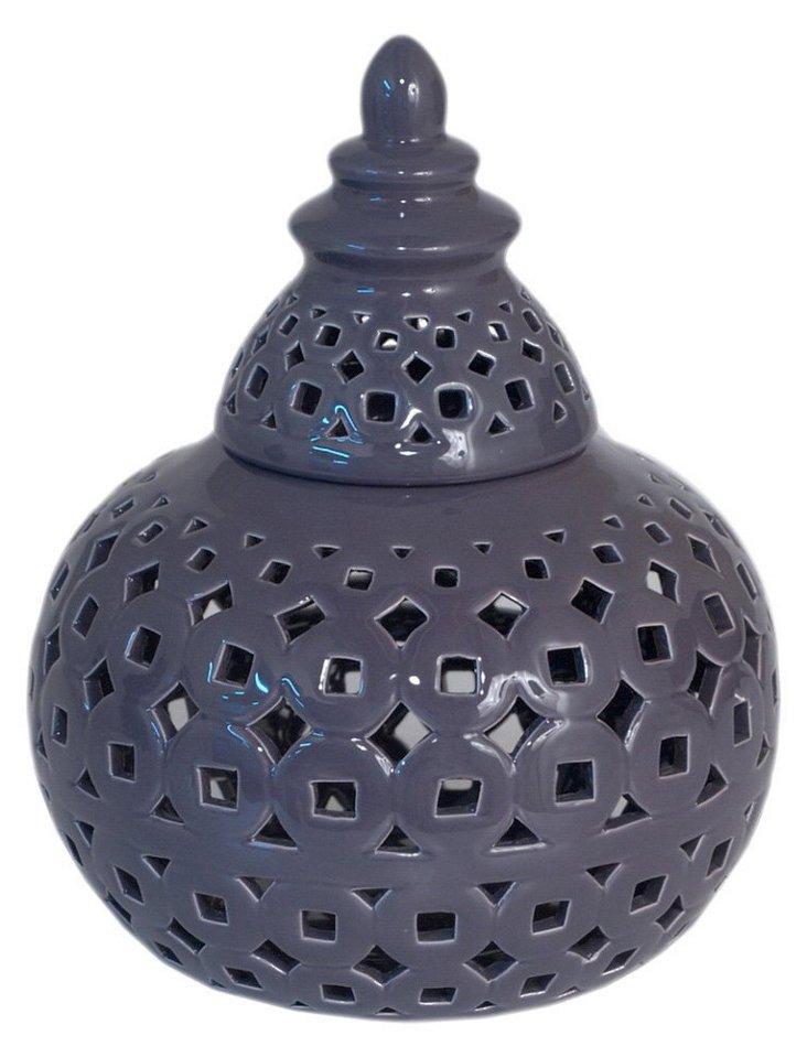 "9"" Pierced Ceramic Jar, Navy"