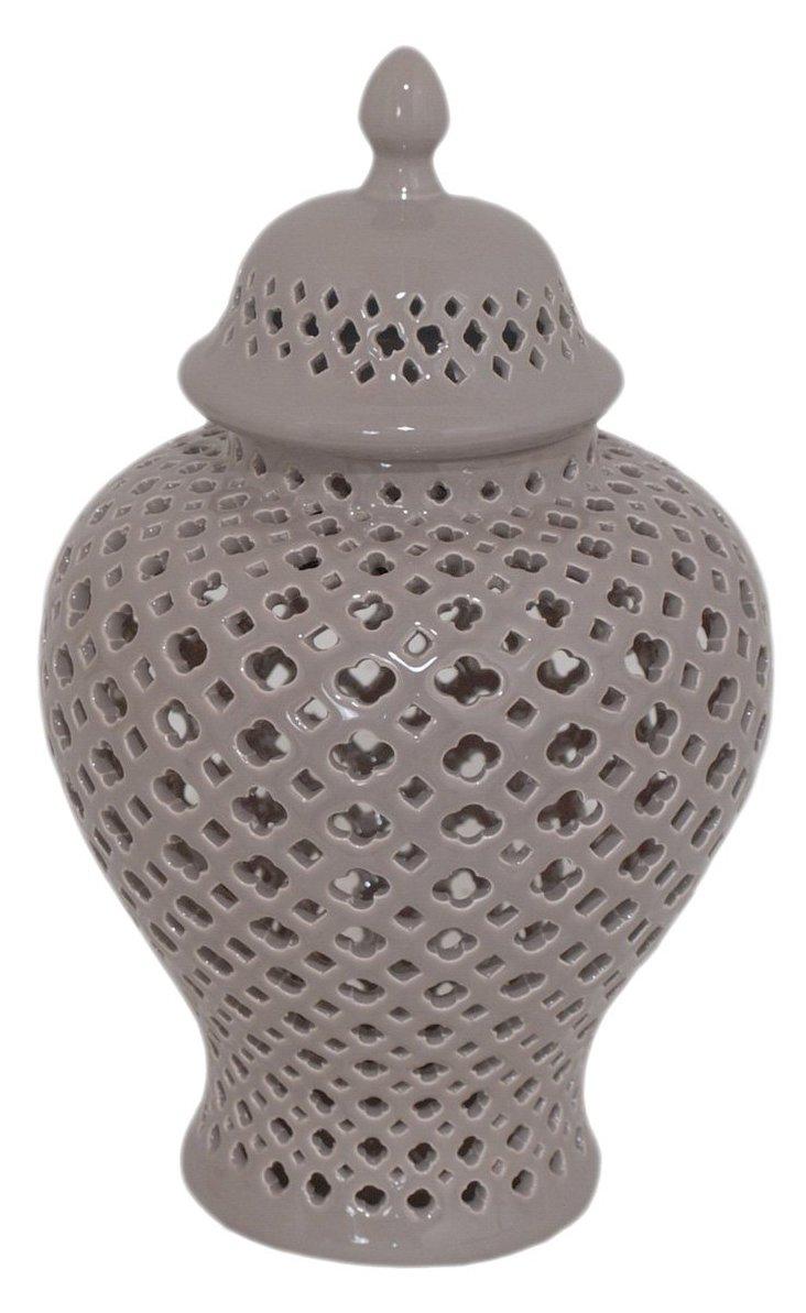 """11"""" Ceramic Temple Jar, Taupe"""
