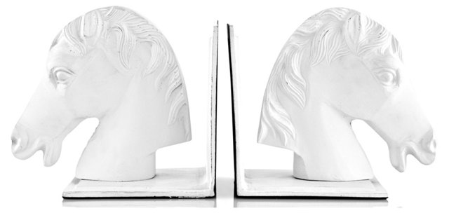 Pair of Horse Head Bookends, White