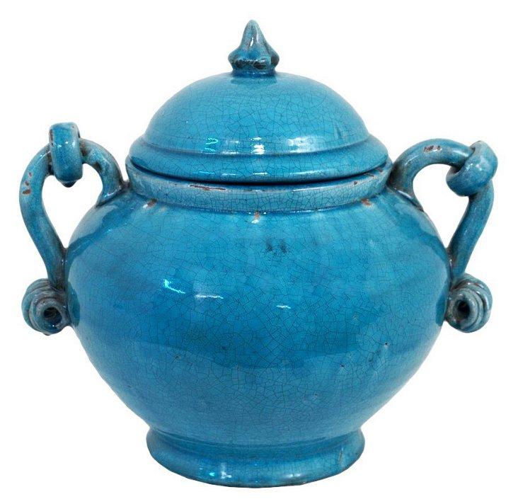 """13"""" Covered Ceramic Pot"""