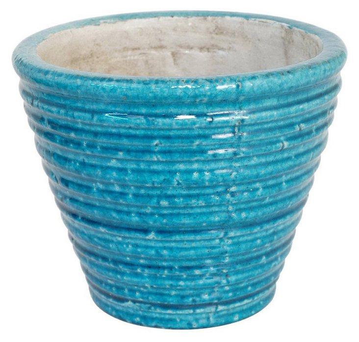 "9"" Ribbed Planter, Light Blue"