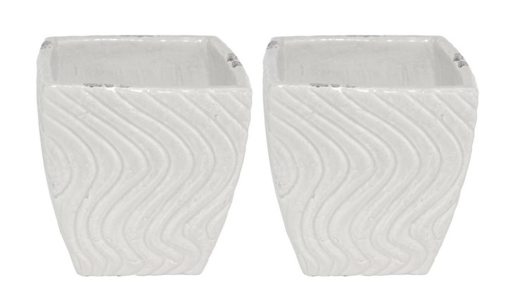 S/2 White Waves Planters, Small