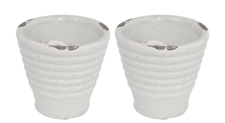 "S/2 6"" Ribbed Planters, White"
