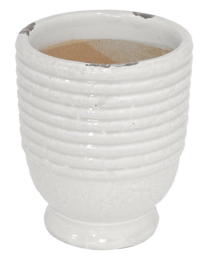 "9"" Ribbed Planter, White"