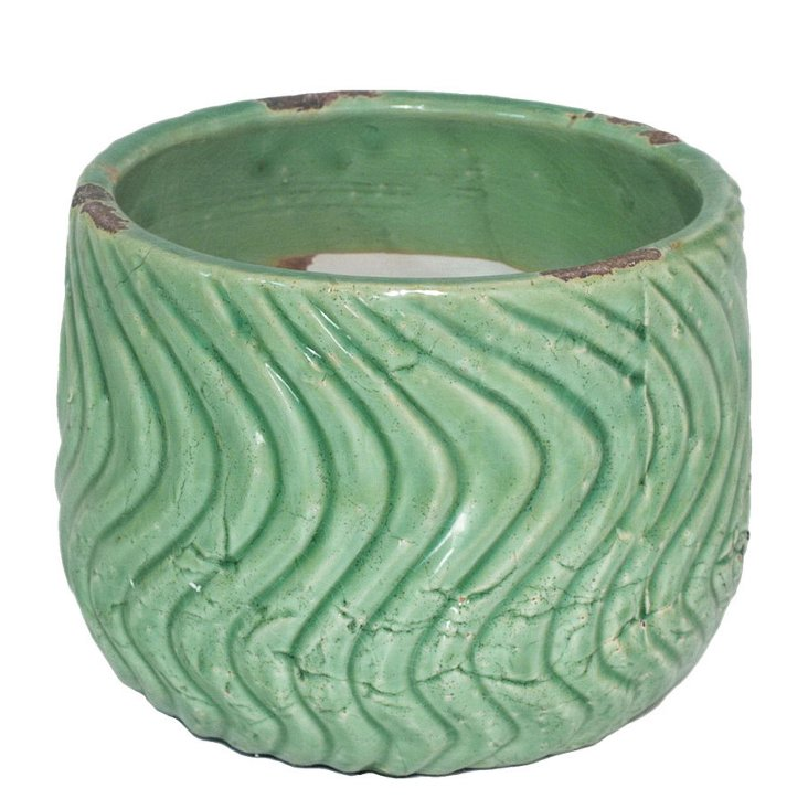 "7"" Waves Planter, Green"