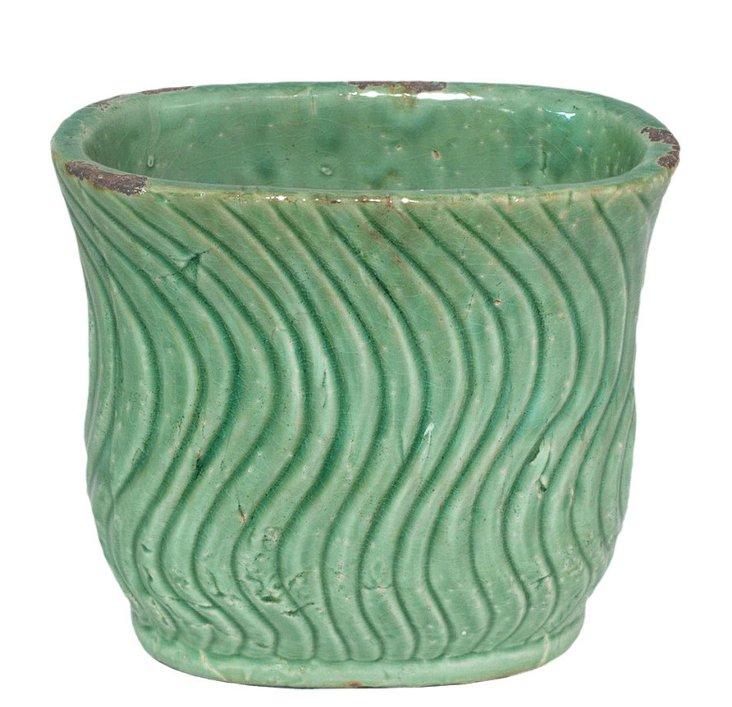 "10"" Waves Planter, Green"