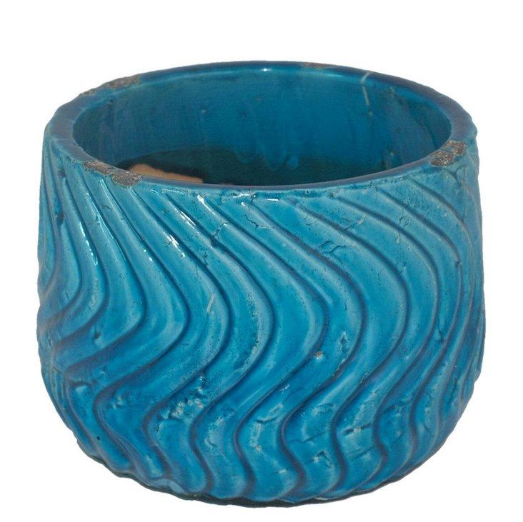 "7"" Wave Planter, Turquoise"