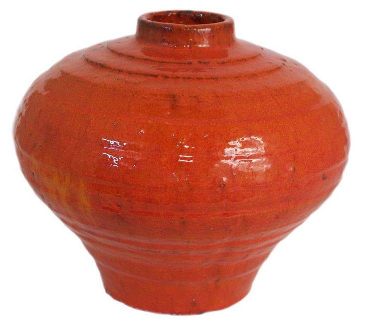 """13"""" Ceramic Vase, Red"""