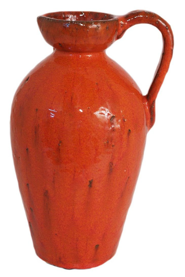 "12"" Terracotta Pitcher, Red"